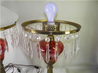 Antique Ruby Red Edged Brass Marble Crystal Prism Frosted Glass Shades Oil Lamps