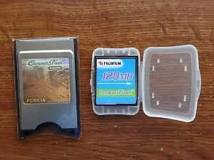 Fuji 128MB Compact Flash Memory Storage Card Janome PC Card PCMCIA CF Adapter