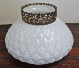 Vintage Diamond Quilted Puffy Milk Glass GWTW Student Lamp Light Shade Globe