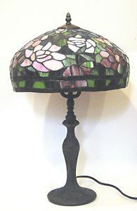 Large Stained Glass Table Lamp Banded Peony Turban Shade w Metal Base