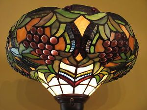 Stained Glass Torchiere Floor Lamp Shade Only Rich Vibrant Colors