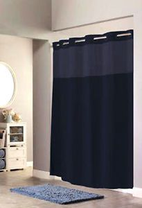 Hookless Mystery Fabric Navy Blue Shower Curtain Sheer Window Panel Flat Grommet