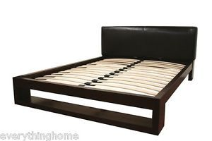 Modern Dark Brown Solid Wood Queen Platform Bed Frame Leather Padded Headboard