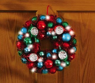 LED Lighted Ornament and Tinsel Holiday Wreath Christmas Door Wall Accent Decor