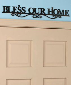 Bless Our Home Metal Cutout Wall Art Scrollwork Sign Inspirational Home Decor