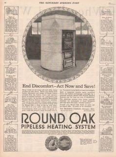 1922 Beckwith Co Dowagiac MI Michigan Round Oak Stove Home Heating System Ad