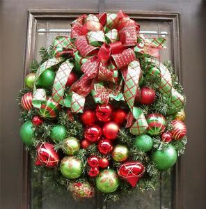 Christmas Door Wreath Ornament Red Green Lime Glitzy Decor Luxe Designer