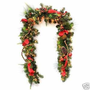 Holiday Christmas 9' Decorated Garland Lit Light Ornament Decor Red Gold Silver