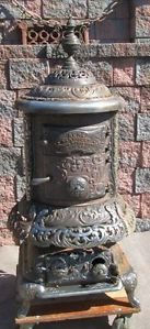 Antique 1800s Cast Iron Acme Ventiduct Wood Burning Cook Heating Parlor Stove
