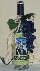 """Scapegoat"" Lighted Wine Bottle w Grapes Night Light Home Decor"