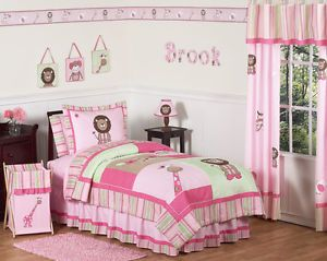 Sweet JoJo Designs Pink Green Animal Jungle Safari Kids Twin Girls Bedding Set