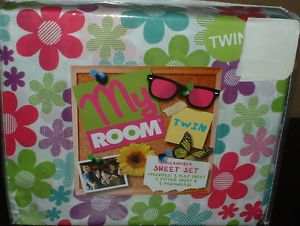 Flower Power Twin Sheet Set Teen Bedding Kids Daisies Groovy Girls Bed New