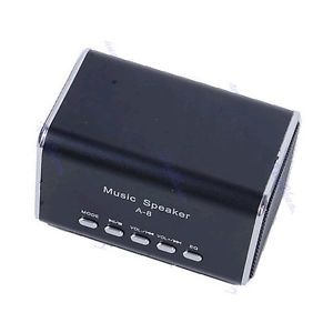 Mini USB Portable FM Radio Speaker Music Player SD TF Card for PC iPod  Black