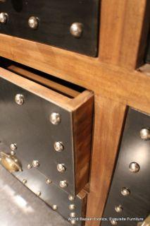"46"" Medium Kitchen Island Butcher Block Station Solid Wood and Iron Brass Detail"