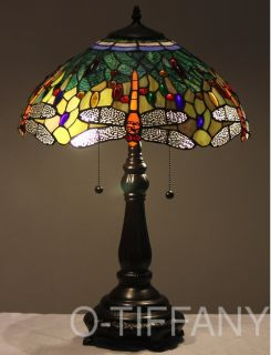 "Tiffany Style Stained Glass Lamp ""Aqua Dragonfly"" w 16"" Shade Metal Base"