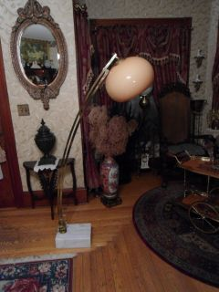 Beautiful Vintage Mid Century Floor Lamp with Marble Base Original Plastic Shade