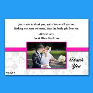 Personalised Wedding Photo Thank You Cards Landscape Style 8 Colours Style 1