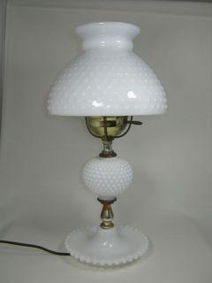 Beautiful Fenton White Milk Glass Hobnail Electric Lamp Shade Base Antique Light