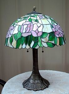 Tiffany Style Stained Glass Pink Rose Lamp Floral Shade Ornate Base 2 Light Pull