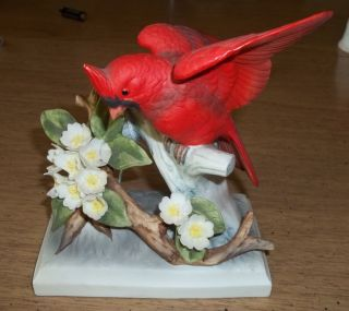 Vintage RARE Hand Painted Lefton Crown China Cardinal KW4954 Figurine