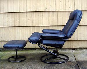 ... Mid Century Leather Ekornes Type Palliser Swivel Recliner Chair Stool  Ottoman ...