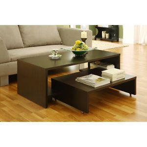 Modern 2 in 1 Coffee Table Living Room Furniture Home Decor Dark Brown Wood New