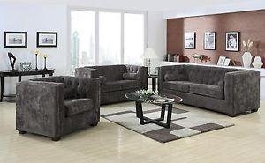 Coaster Furniture Alexis Gray Microvelvet Sofa Loveseat Living Room Set 504491