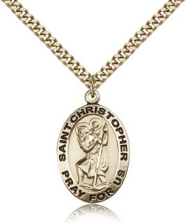 "Saint Christopher Medal for Men Gold Filled Necklace on 24"" Chain 30 Day"