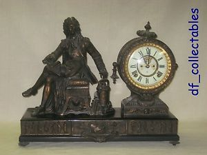 Ansonia Denis Papin Figural Statue Mantel Shelf Clock