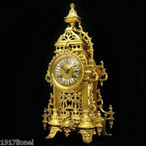 French Antique 1880 Stunning Gilt Bronze Gothic Mantle Striking Clock