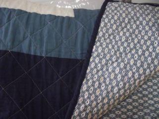 Martha Stewart Geo Stars Reversible Navy Full Queen Quilt 100 Cotton