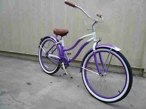 "26"" Aluminum Frame Beach Cruiser Bicycle Bike Purple"