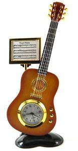 Collectable Novelty Miniature Mini Clock Wood Color Acoustic Guitar Design