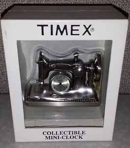Timex Collectible Clock Miniature Pewter Sewing Machine Brand New