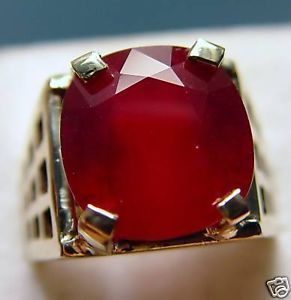 Extremely RARE 16 26 Ct Natural Red Ruby Vintage Men's Ring 10kyg Sz 9 5