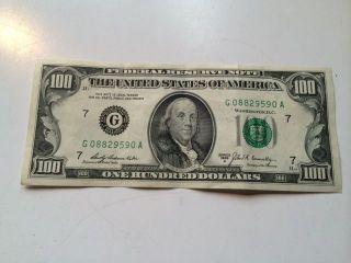 1969 100 Dollar Bill Star Note with Interesting Serial 3 Pairs Crisp Mild Fold