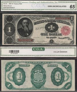 1891 $1 One Dollar Bill Treasury Note CGA Graded Red Seal Currency Cash Money