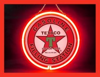 NEON539 Texaco Gas Oils Car Logo Display Neon Sign Man Cave Happy Hour Party