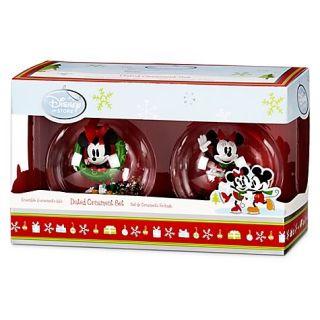 Disney 2011 Dated Christmas Tree Mickey Minnie Mouse Snowglobe Ornaments Set