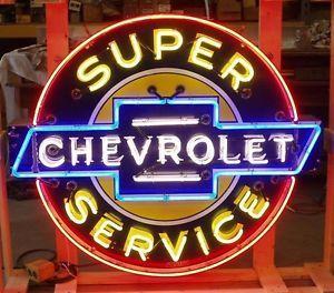 Old Chevrolet Super Service Porcelain Neon Sign