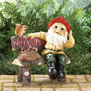 Large Garden Gnome on Park Bench Welcome Sign Outdoor Yard Figurine Dwarf Statue
