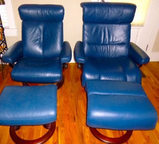 ... Ekornes Stressless Blue Leather Chairs Recliners Ottomans 2 Chairs LG  SM ...