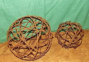 Barbed Wire Globe Ball Set of 2 Rustic Country Primitive Table Garden Yard Decor