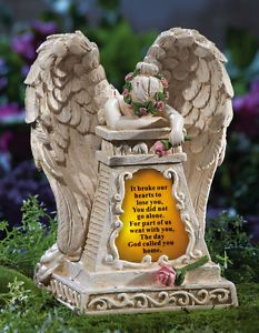Solar Powered Memorial Weeping Angel Garden Statue Outdoor Yard Decor