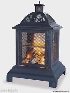 Sunjoy Connan Steel Wood Outdoor Fireplace