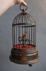 ASIS Antique German Part Music Box Animated Motion Singing Bird Cage Brass Frame