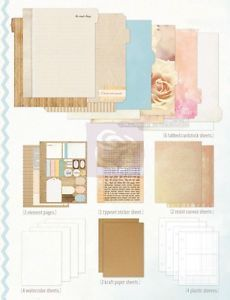 Prima Mixed Media Book 21 Pages Scrapbook Paper Stickers Embellishments