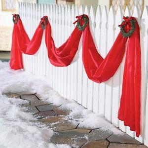 Giant Outdoor Christmas Ribbon Triple Swag Yard Decor w Wreaths 19 5 ft Long New