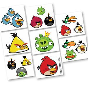 Angry Birds Party Supplies Temp Tattoo Favor Sheet New
