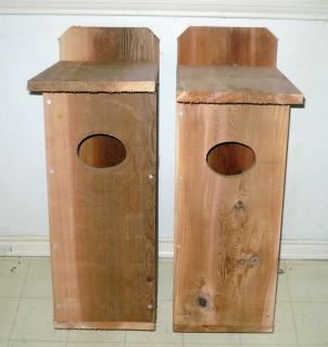 2 New Cedar Wood Duck Box Houses Bird House Nest Roost Set of Two